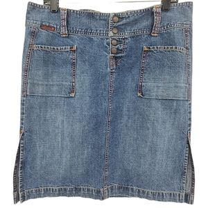 Lucky Brand Snap Button Fly Medium Wash Jean Skirt